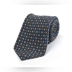 Blue and Brown Floral Silk Tie