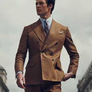 Tobacco Irish Linen Double-Breasted Jacket