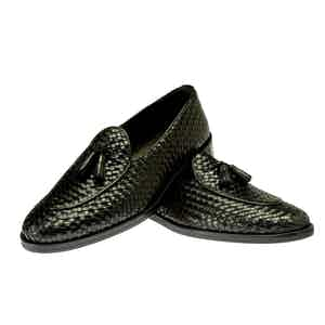 Black Brando Woven Leather Loafer