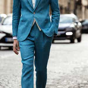Light Blue Linen Sport Trousers