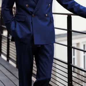 Navy Loro Piana Wool Classic Trousers