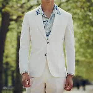 Off-White Wool Gabardine Single-Breasted Jacket