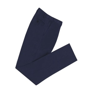 Navy High Waisted Linen Trousers