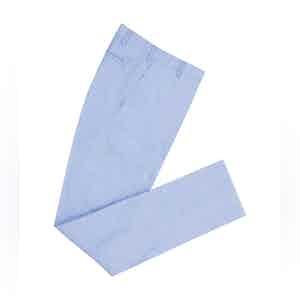 Sky Blue High Waisted Herringbone Linen Trousers