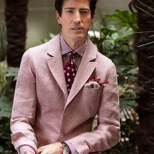 Pink Linen Single-Breasted Sport Teba Jacket