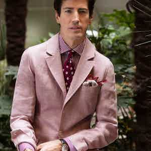 Pink Linen Single-Breasted Sport Teba Jacket