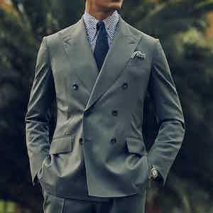 Dark Sage Wool Gabardine Double-Breasted Jacket