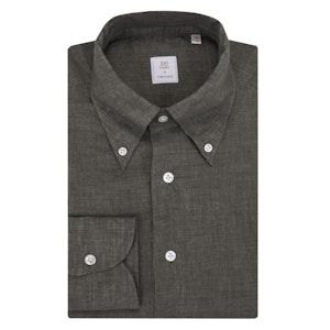 Olive Green Button-Down Collar Irish Linen Shirt