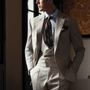 Beige Loro Piana Wool Single-Breasted Three-Piece Suit