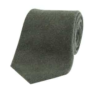 Forest Green Textured Wool and Silk Tie
