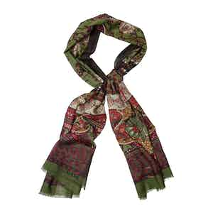 Bordeaux and Green Wool and Cashmere Floral Print Scarf