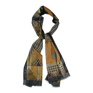 Gold Wool and Cashmere Abstract Rhombus Print Scarf
