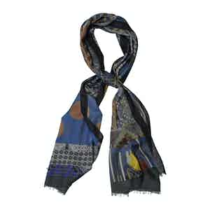 Blue Wool and Cashmere Rhombus Abstract Print Scarf