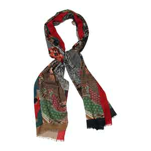 Red Cashmere and Silk Tiger Print Scarf