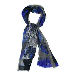 Blue Cashmere and Silk Tiger Print Scarf