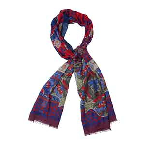 Blue and Red Wool and Cashmere Floral Print Scarf