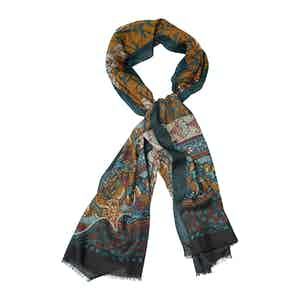 Brown and Blue Wool and Cashmere Floral Print Scarf