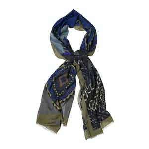 Green and Blue Cashmere and Silk Abstract Print Scarf