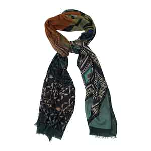 Green and Orange Cashmere and Silk Print Scarf