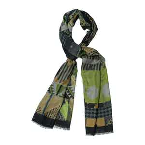 Green Wool and Cashmere Rhombus Abstract Print Scarf