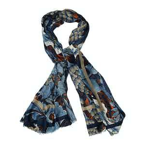 Blue Wool Printed Scarf