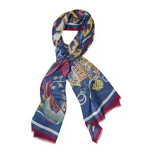 Violet and Yellow Tulipan Printed Scarf