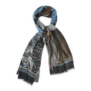 Brown Cashmere Indian Men Printed Scarf