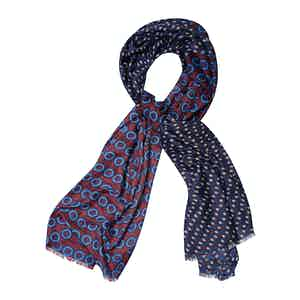 Red and Blue Cashmere Abstract Design Printed Scarf