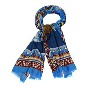 Blue and Red Cashmere Indian Chieftain Printed Scarf