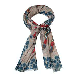 Red Cashmere Horse Print Scarf