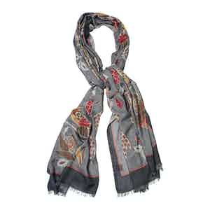 Gold and Red Cashmere Bird Print Scarf
