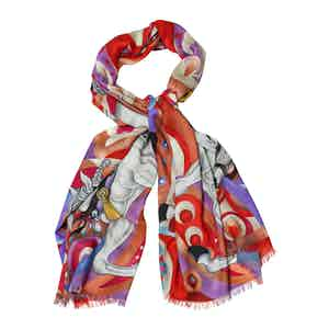 White and Gold Cashmere Horse Print Scarf
