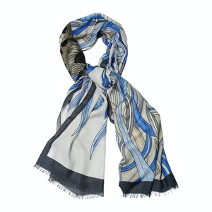 Blue and Azure Cashmere Tiger Print Scarf