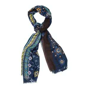 Brown and Green Cashmere Flower Print Scarf