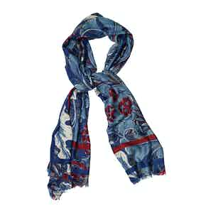 Red and Blue Wool Pine Cone Print Scarf