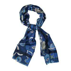 Azure and White Wool Printed Scarf