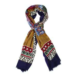 Blue Cashmere Indian Chieftain Printed Scarf