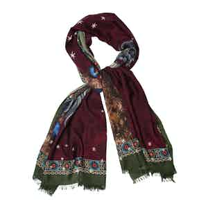 Brown Cashmere Horse Printed Scarf