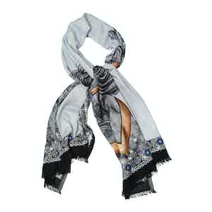 Black and White Cashmere Ice Horse Printed Scarf