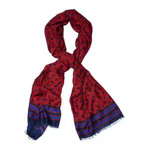 Red and Blue Wool Polka Dot Printed Scarf