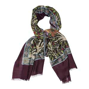 Red and Blue Cashmere Horse Freedom Printed Scarf