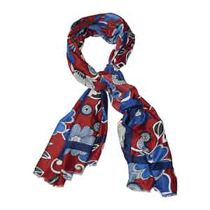 Blue and Bordeaux Wool Floral Printed Scarf