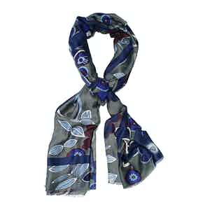 Grey and Blue Wool Floral Print Scarf