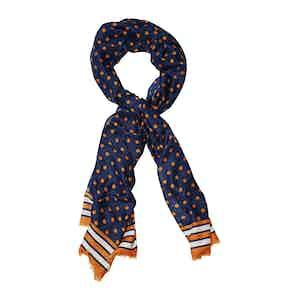 Orange and Blue Wool Polka Dot Print Scarf