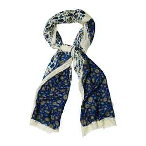 White and Blue Wool Square Print Scarf