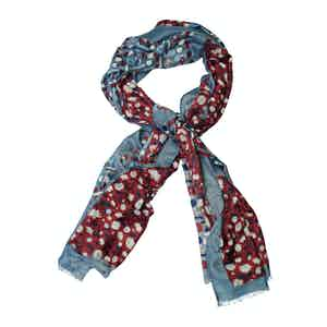 Bordeaux and Grey Wool Mixed Floral Print Scarf
