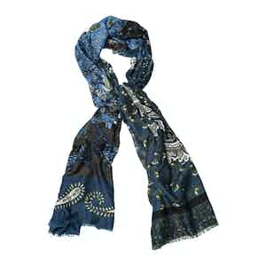 Azure and Brown Wool Mixed Paisley Print Scarf