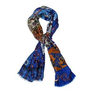 Azure Brown and Bordeaux Printed Scarf