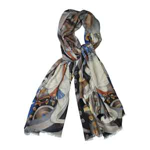 White Cashmere Freedom Horse Printed Scarf