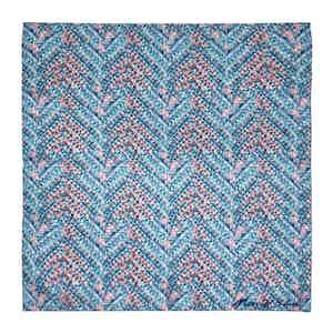 Light Blue Tile Print Silk Pocket Square
